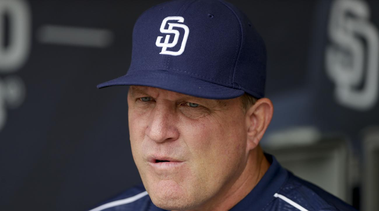 FILE - In this June 16, 2015, file photo, San Diego Padres interim manager Pat Murphy looks on before a baseball game against the Oakland Athletics in San Diego. A.J. Preller, Padres executive vice president/general manager, announced Sunday, Oct. 4, 2015