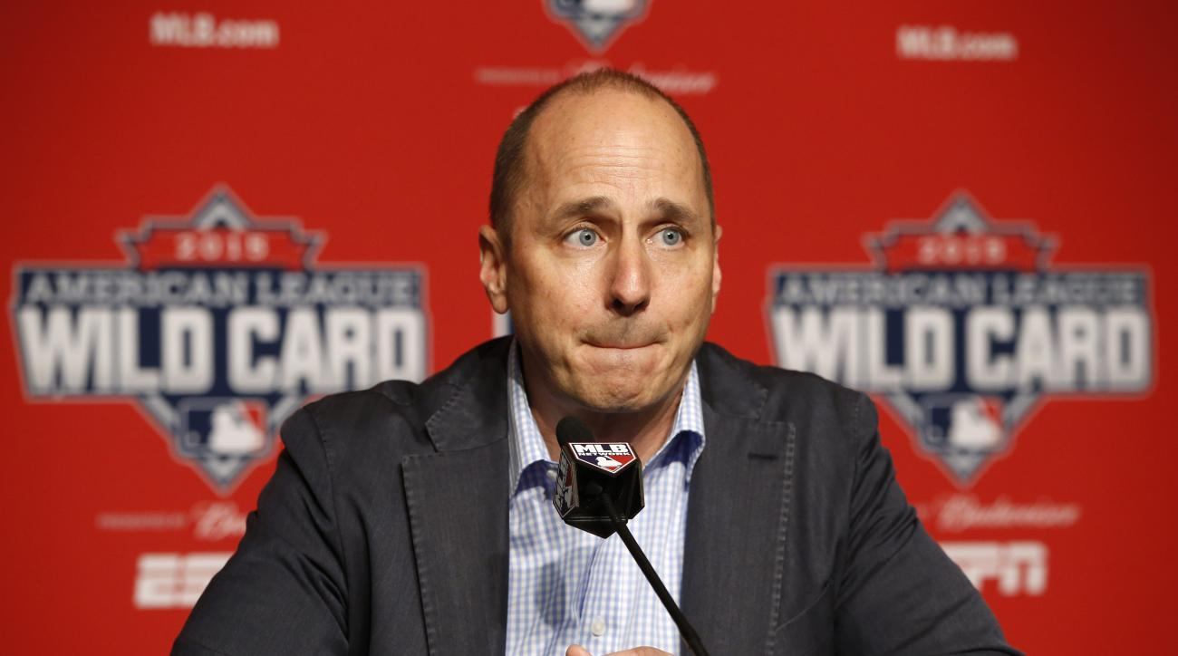 New York Yankees general manager Brian Cashman addresses the media about New York Yankees starting pitcher CC Sabathia, who told the club he is checking himself into an alcohol rehabilitation center and therefore will miss the playoffs, before a workout d