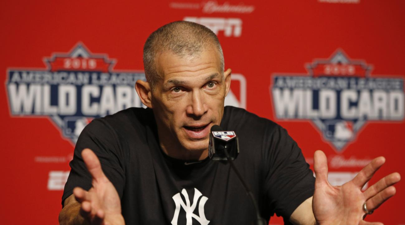 New York Yankees manager Joe Girardi speaks to the media about Yankees starting pitcher CC Sabathia, who checked himself into an alcohol rehabilitation center,  before a workout day Monday, Oct. 5, 2015, for Tuesday's American League Wild Card game at Yan