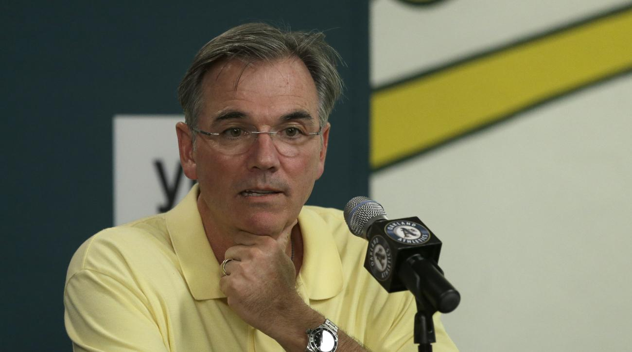 Oakland Athletics general manager Billy Beane during a media conference Wednesday, Sept. 9, 2015, in Oakland, Calif. Oakland Athletics manager Bob Melvin has received a two-year contract extension that takes him through the 2018 season. General manager Bi