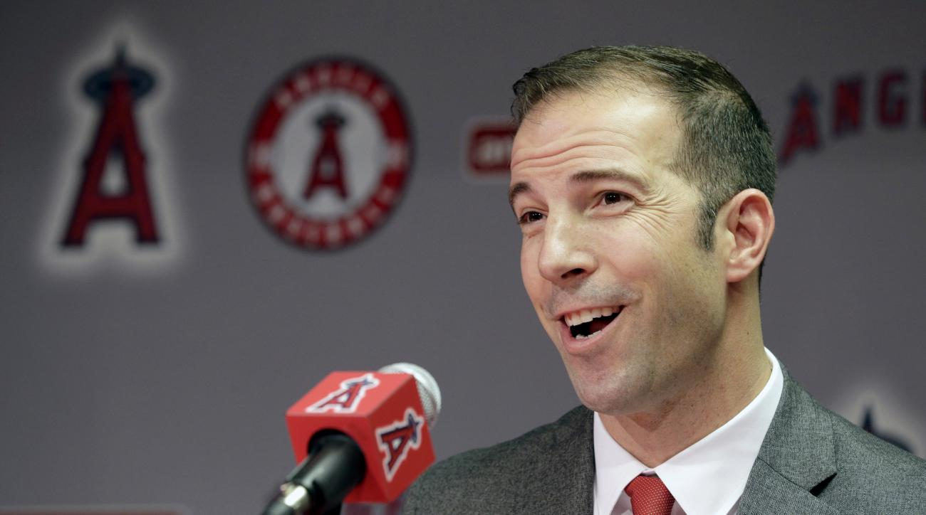 Longtime Yankees executive Billy Eppler smiles during a news conference announcing him as the new general manager for the Los Angeles Angels in Anaheim, Calif., Monday, Oct. 5, 2015. The 40-year-old Eppler replaces interim GM Bill Stoneman, who took over