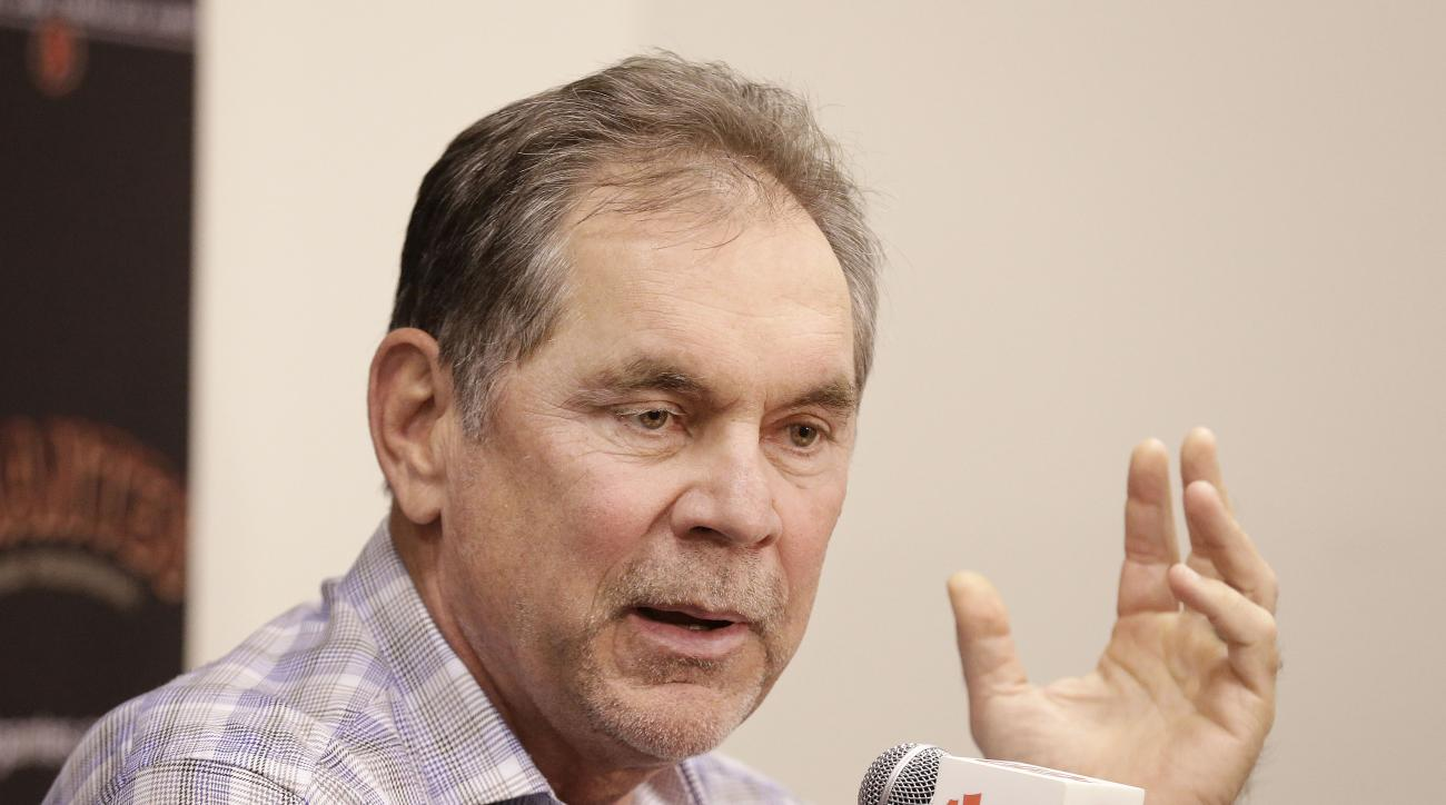 San Francisco Giants manager Bruce Bochy speaks at a news conference in San Francisco, Monday, Oct. 5, 2015. (AP Photo/Jeff Chiu)