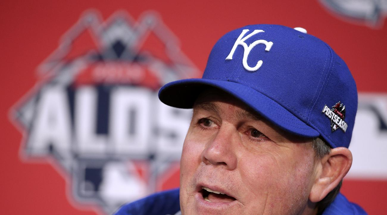 Kansas City Royals manager Ned Yost talks to the media during a news conference Tuesday, Oct. 6, 2015, in Kansas City, Mo. The Royals face the winner of tonight's AL wildcard game Thursday in Kansas City. (AP Photo/Charlie Riedel)