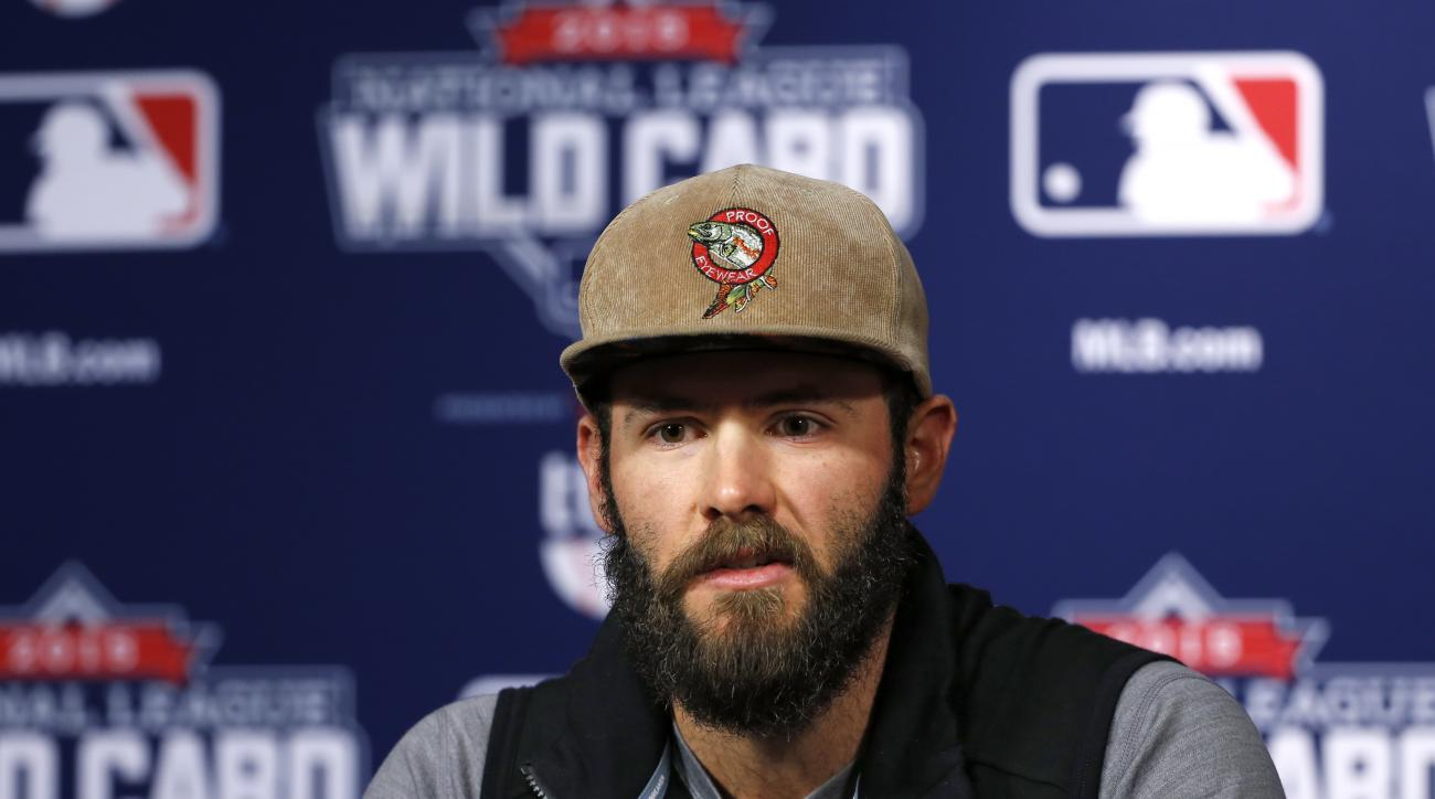 Chicago Cubs Wild Card game starting pitcher Jake Arrieta answers a question during a press conference on workout day, Tuesday, Oct. 6, 2015, for Wednesday's National League Wild Card baseball game at PNC Park in Pittsburgh, Tuesday, Oct. 6, 2015. (AP Pho