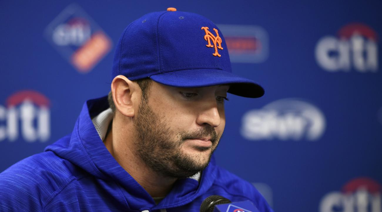 New York Mets starting pitcher Matt Harvey pauses as he speaks to the media to explain his absence during today's practice at Citi Field for the NLDS series against the Los Angeles Dodgers, Tuesday, Oct. 6, 2015, in New York. (AP Photo/Kathy Kmonicek)