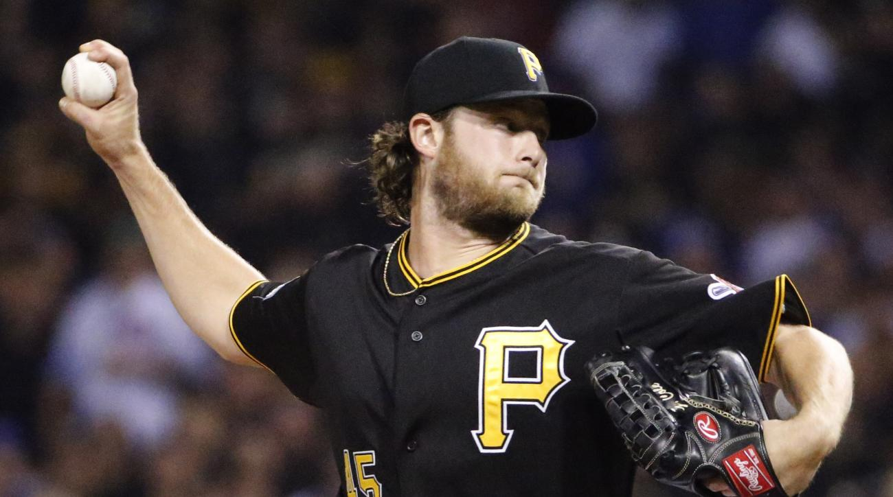 Pittsburgh Pirates starting pitcher Gerrit Cole throws against the Chicago Cubs in the first inning of the National League wild card baseball game , Wednesday, Oct. 7, 2015, in Pittsburgh. (AP Photo/Gene J. Puskar)