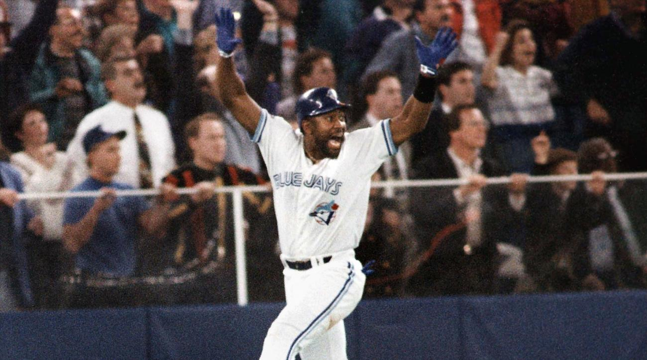 FILE - In this Oct. 23, 1993, file photo, Toronto Blue Jays' Joe Carter celebrates his game-winning, three-run home run in the ninth inning of Game 6 of the World Series in Toronto. It may not have been obvious at the time, but when Joe Carter's home run