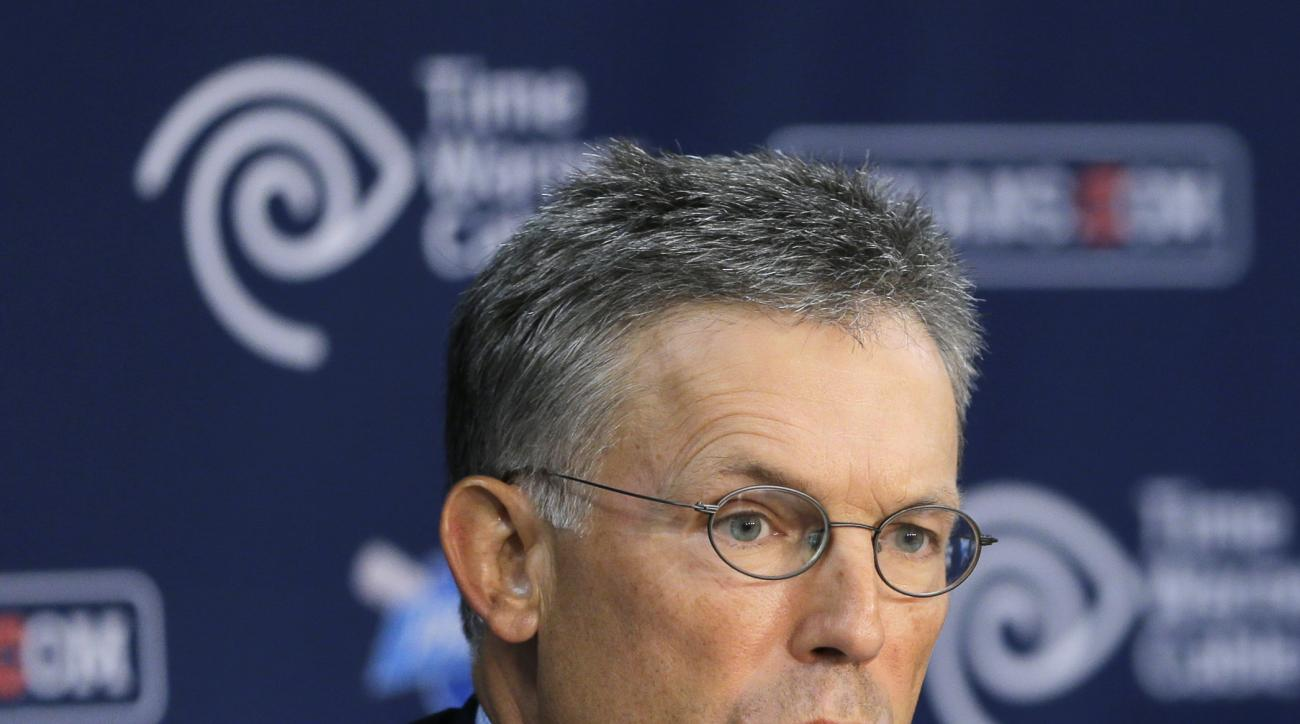 This Monday, Aug. 31, 2015, photo shows Cleveland Indians owner Paul Dolan speaking at a news conference in Cleveland. An investment bank hired by Dolan has identified a potential minority partner for the franchise and could be closing in on a deal. The D