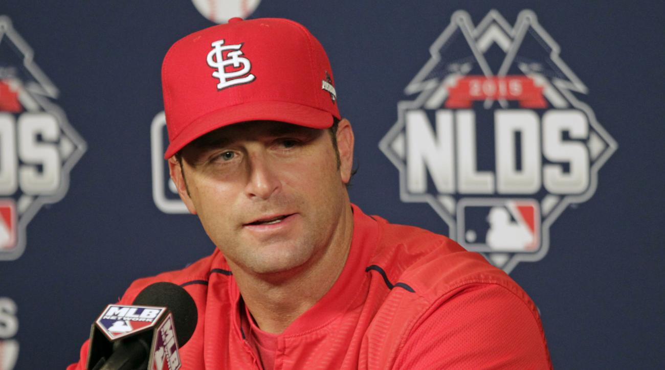 St. Louis Cardinals manager Mike Matheny answers questions during a press conference, Thursday, Oct. 8, 2015, in St. Louis. The Cardinals will face the Chicago Cubs, for the first time in post-season history, in the National League Division Series.  (AP P