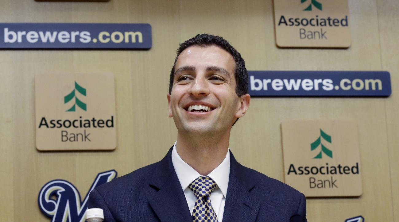 FILE - In this Sept. 21, 2015, file photo, David Stearns speaks during a news conference in Milwaukee. Nearly a week into his tenure with the Brewers, new general manager David Stearns is beginning to set a fresh tone for a franchise in transition. (AP Ph