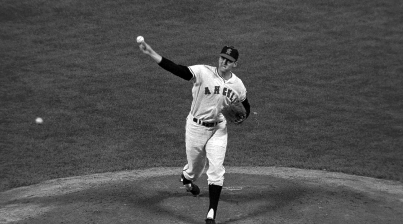 FILE - In this June 12,1966, file photo, California Angels pitcher Dean Chance delivers during a baseball game in California. Chance, who won the 1964 Cy Young Award and later pitched a no-hitter, died Sunday, Oct. 11, 2015. He was 74. The funeral home ha