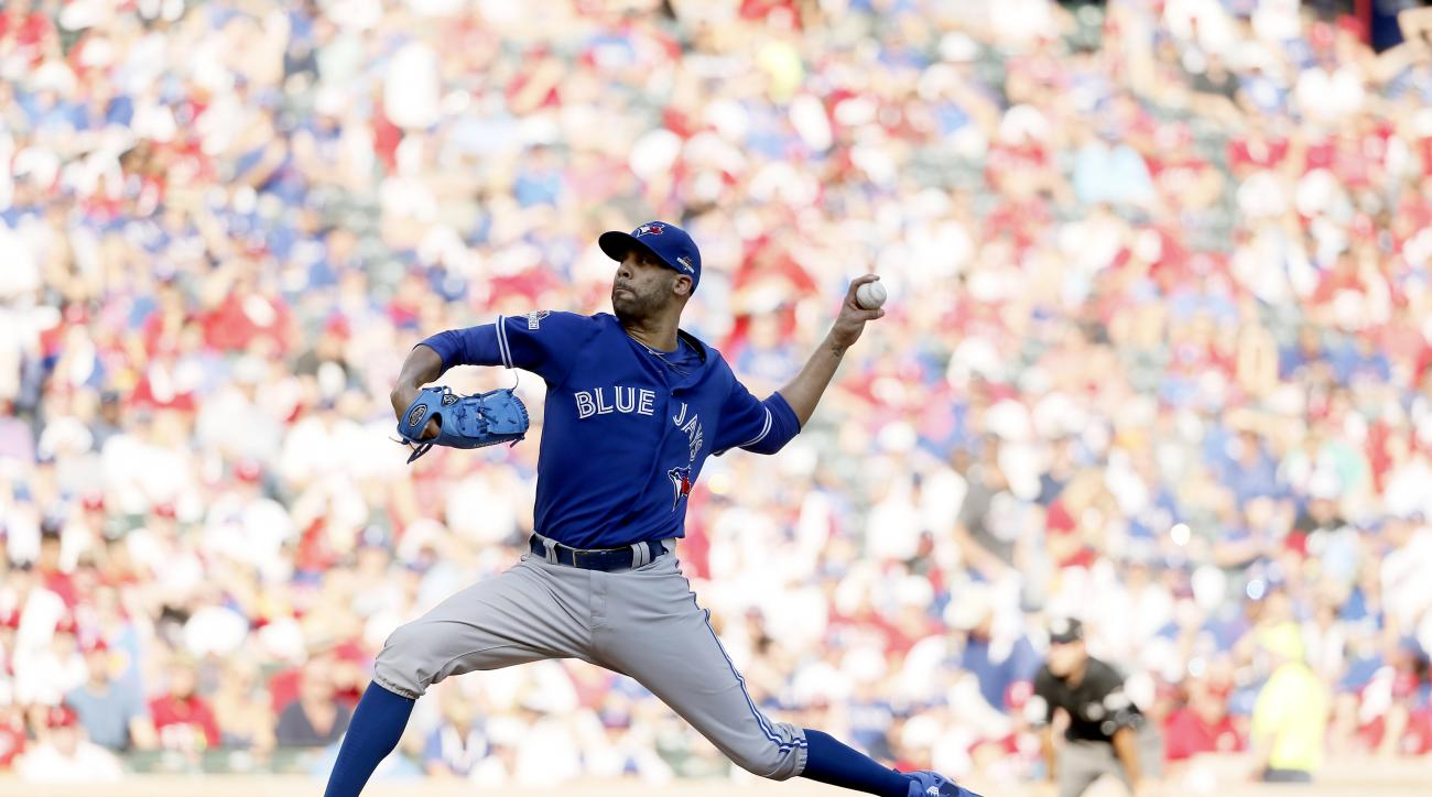 Toronto Blue Jays starting pitcher David Price (14) throws the ball against the Texas Rangers in the fifth inning in Game 4 of baseball's American League Division Series Monday, Oct. 12, 2015, in Arlington, Texas. (AP Photo/Tony Gutierrez)