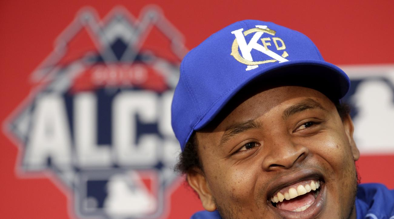 Kansas City Royals starting pitcher Edinson Volquez talks to the media during a news conference before batting practice for baseball's American League Championship Series Thursday, Oct. 15, 2015 in Kansas City, Mo. Volquez will start for the Royals as the