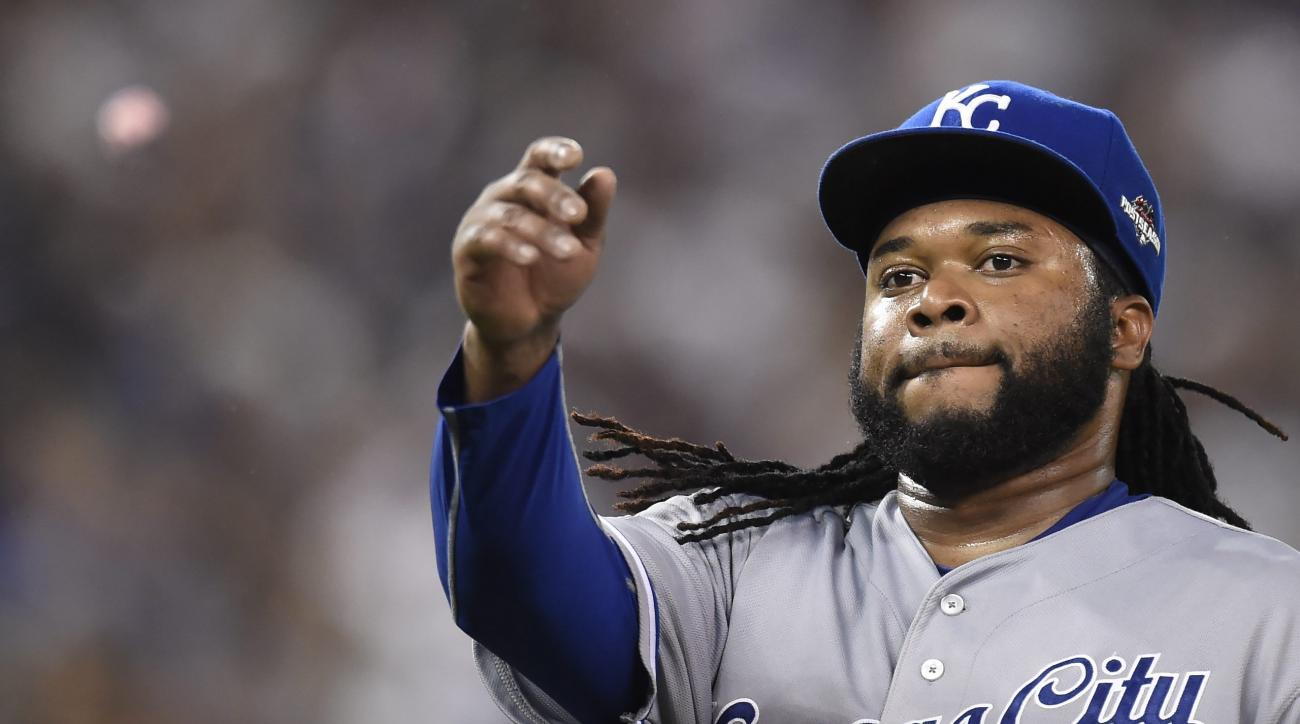 Kansas City Royals starting pitcher Johnny Cueto throws his gum after being pulled from the game during the third inning in Game 3 of baseball's American League Championship Series against the Toronto Blue Jays on Monday, Oct. 19, 2015, in Toronto. (Frank