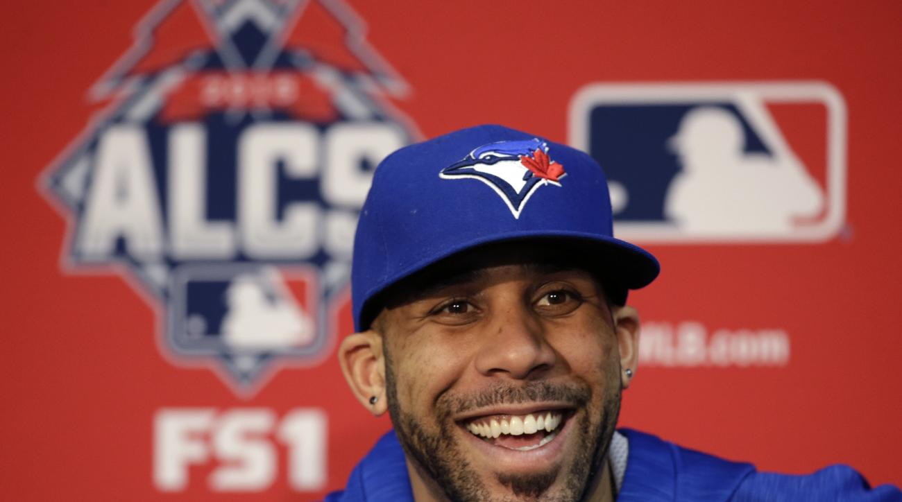 Toronto Blue Jays starting pitcher David Price smiles during a news conference at Kauffman Stadium in Kansas City, Mo., Thursday, Oct. 22, 2015. The Blue Jays face the Kansas City Royals in game six of the ALCS on Friday. (AP Photo/Orlin Wagner)
