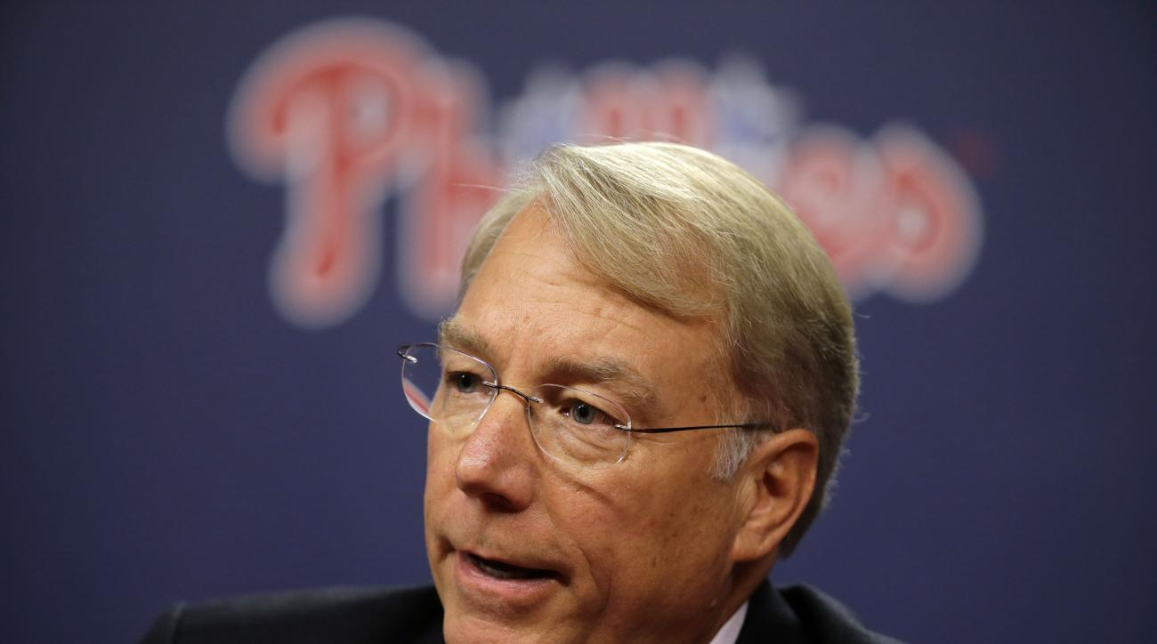 Incoming Philadelphia Phillies president Andy MacPhail speaks during a news conference Thursday, Sept. 10, 2015, in Philadelphia. The Phillies fired general manager Ruben Amaro Jr. Thursday, with 22 games left in their worst season since 1972. (AP Photo/M