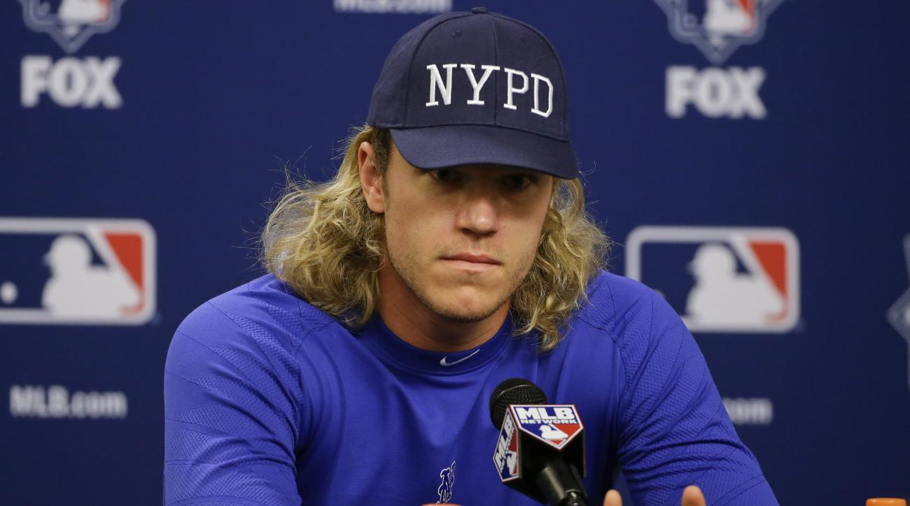 New York Mets starting pitcher Noah Syndergaard speaks during a news conference before Friday's Game 3 of the Major League Baseball World Series against the Kansas City Royals, Thursday, Oct. 29, 2015, in New York. (AP Photo/Frank Franklin II)