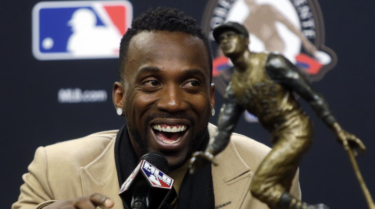 Pittsburgh Pirates Andrew McCutchen smiles at a news conference where he was announced the Roberto Clemente Award winner for 2015 before Game 3 of the Major League Baseball World Series between the New York Mets and the Kansas City Royals Friday, Oct. 30,