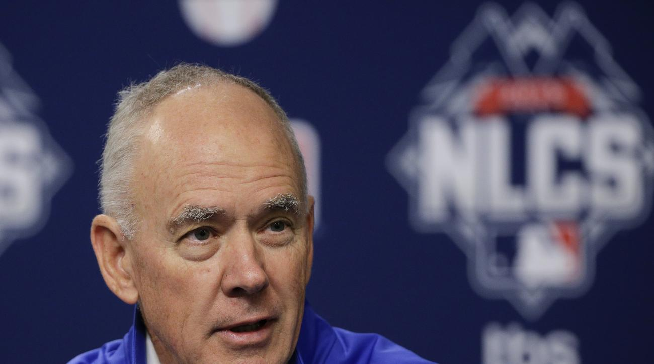 New York Mets general manager Sandy Alderson answers questions for the media during a news conference, Friday, Oct. 16, 2015, in New York. The Mets will face the Chicago Cubs in Game 1 of the NLCS on Saturday. (AP Photo/Julie Jacobson)