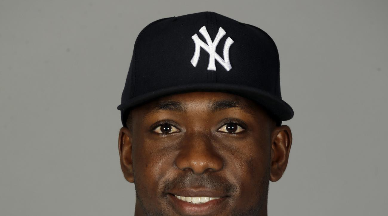FILE - This is a 2015 file photo showing Jose Pirela of the New York Yankees baseball team. The Yankees have traded infielder Jose Pirela to the San Diego Padres for right-hander Ronald Herrera in the first deal of the general managers' meetings. Yankees