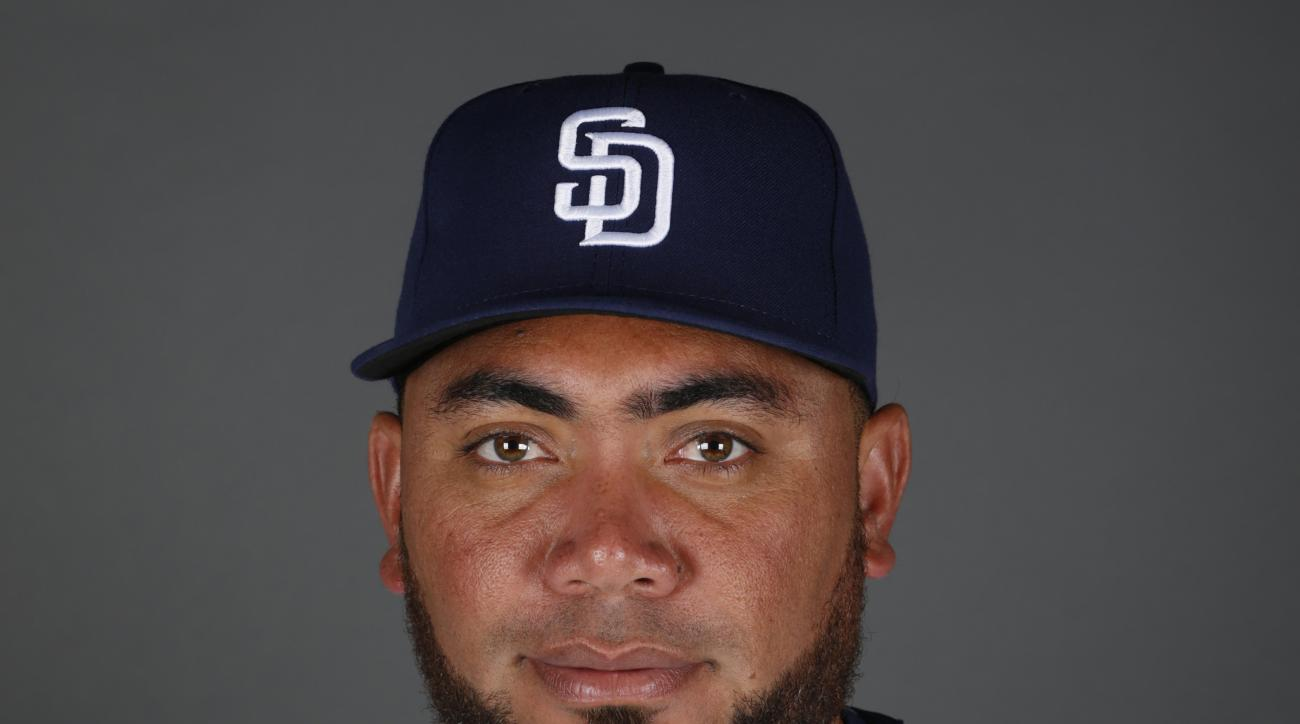 FILE - This 2015 file photo shows Joaquin Benoit of the San Diego Padres baseball team.  The Mariners kept on addressing their bullpen by acquiring right-handed reliever Joaquin Benoit from the San Diego Padres for a pair of minor league prospects. The te
