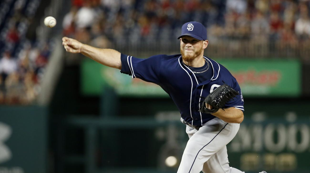 San Diego Padres relief pitcher Craig Kimbrel throws during the ninth inning of a baseball game against the Washington Nationals at Nationals Park, Wednesday, Aug. 26, 2015, in Washington. The Padres won 6-5. (AP Photo/Alex Brandon)