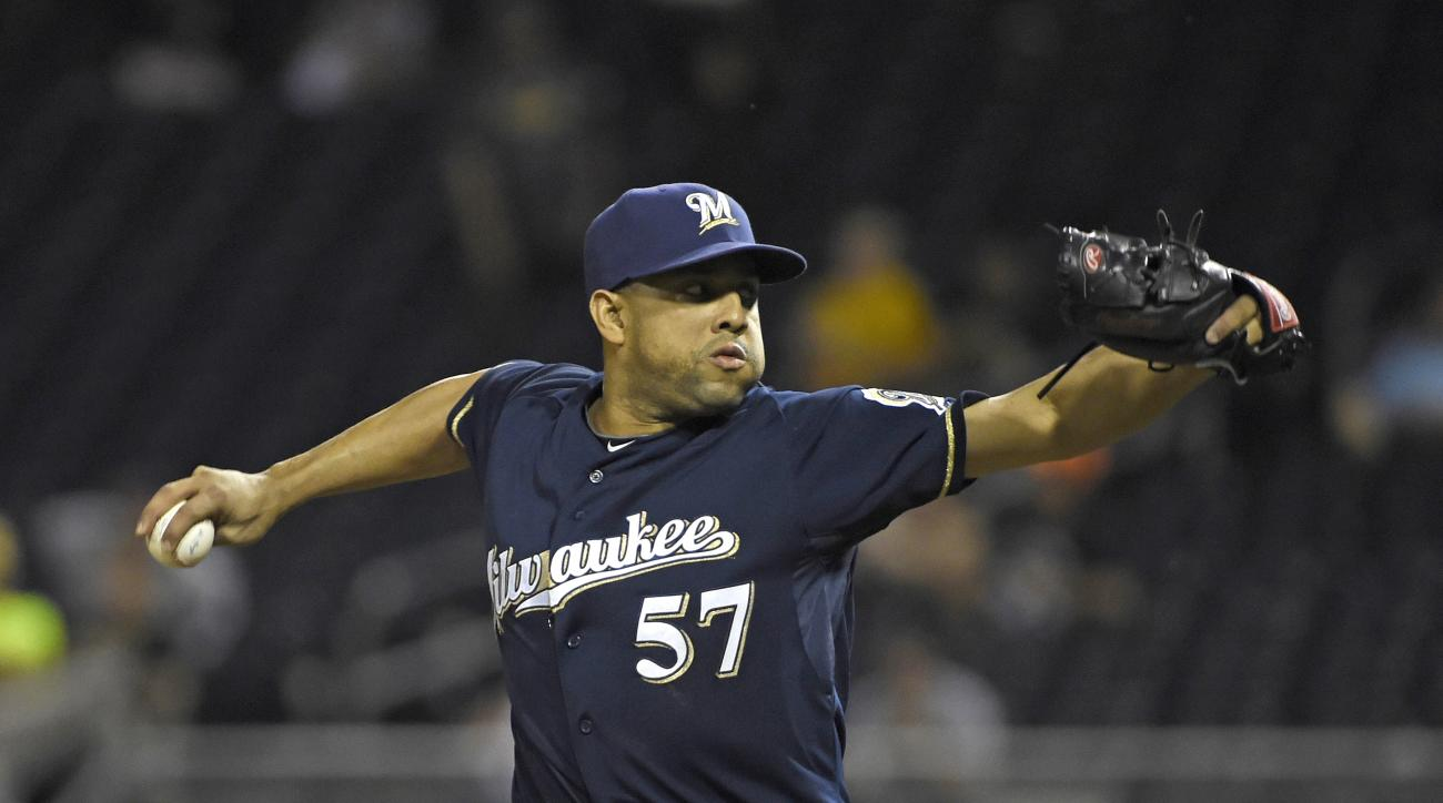 Milwaukee Brewers' Francisco Rodriguez pitches against the Pittsburgh Pirates during a baseball game, Thursday, Sept. 10, 2015, in Pittsburgh.  (AP Photo/Fred Vuich)