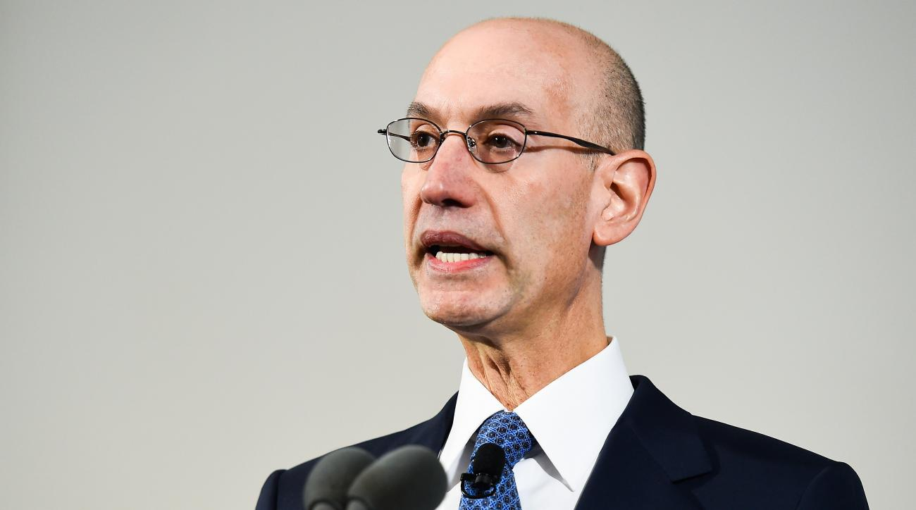 NEW YORK, NY - APRIL 13:  NBA Commissioner Adam Silver speaks during a press conference to announce a marketing partnership between the NBA and PepsiCo on April 13, 2015 at Terminal 23 in New York City. Pepsi will replace Coca-Cola Co with league sponsors