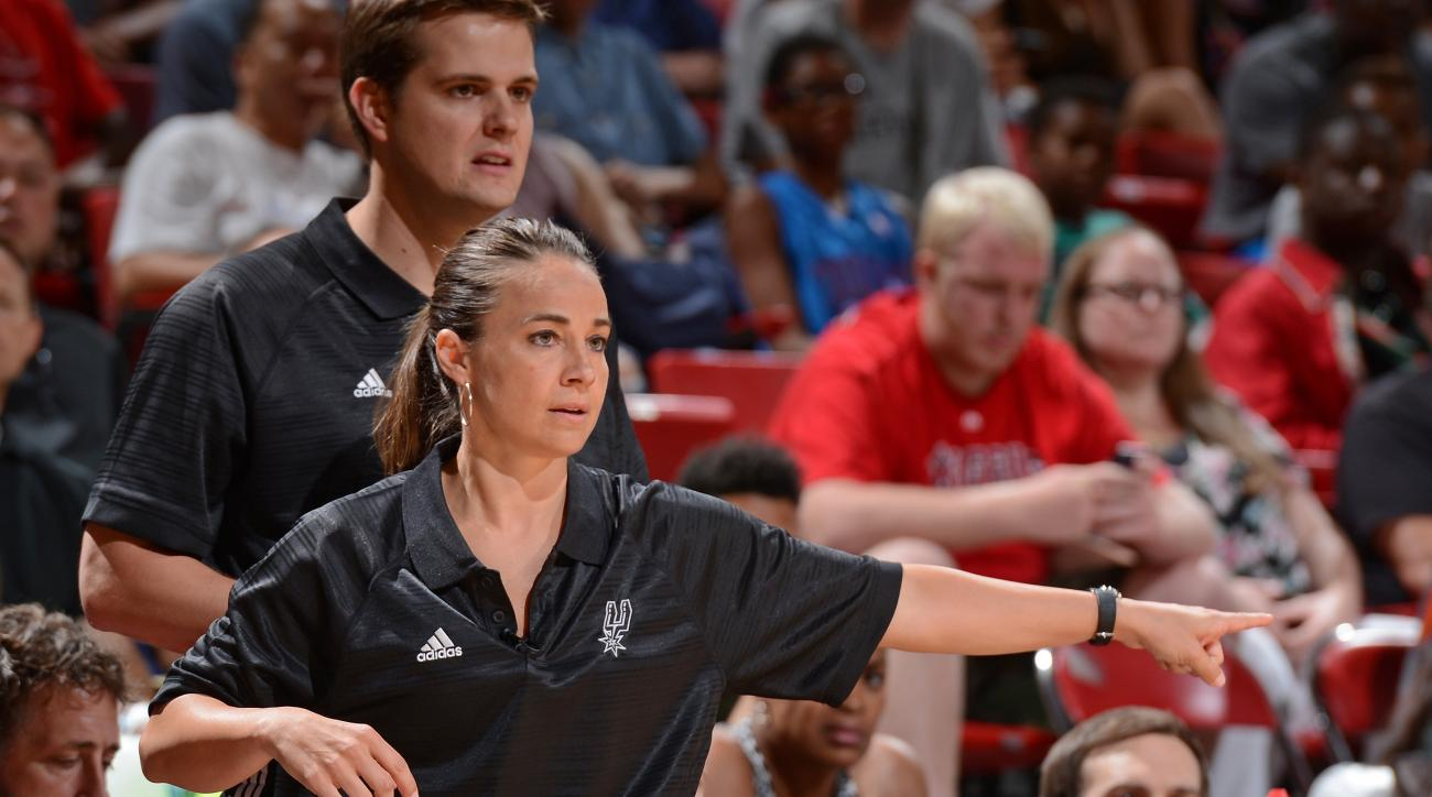 LAS VEGAS, NV - JULY 20:  Becky Hammon of the San Antonio Spurs coaches against the Phoenix Suns during the Las Vegas Summer League Championship on July 20, 2015 at the Thomas & Mack Center in Las Vegas, Nevada. (Photo by Garrett Ellwood/NBAE via Getty Im