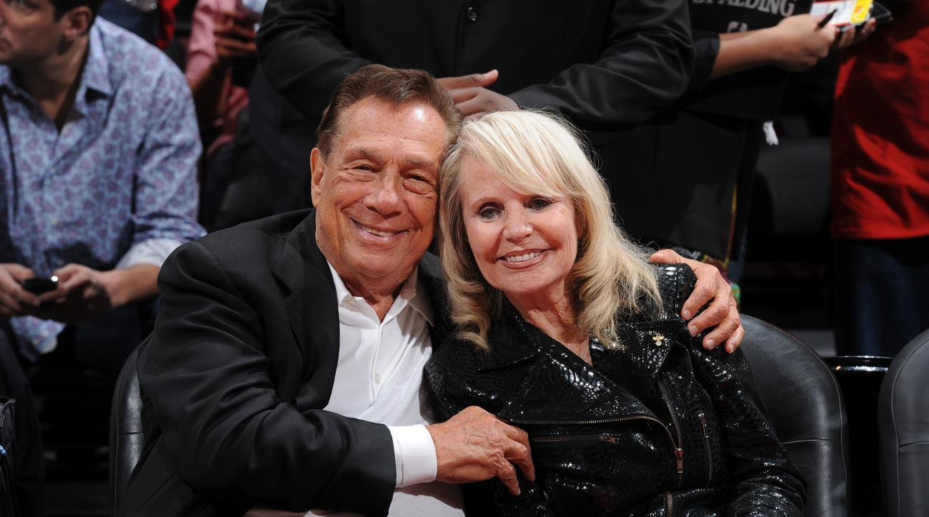 LOS ANGELES, CA - MAY 7:  Donald Sterling, owner of the Los Angeles Clippers, left and his wife Shelly pose for a photograph before his team played the Memphis Grizzlies in Game Four of the Western Conference Quarterfinals during the 2012 NBA Playoffs at