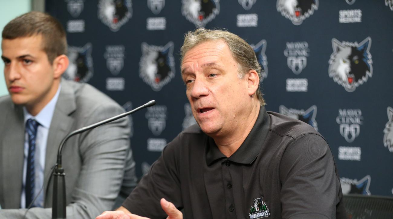 MINNEAPOLIS, MN - July 15:  Euroleague Most Valuable Player Nemanja Bjelica of the Minnesota Timberwolves is introduced to the media by President of Basketball Operations and Head Coach Flip Saunders on July 15, 2015 at the Minnesota Timberwolves and Lynx