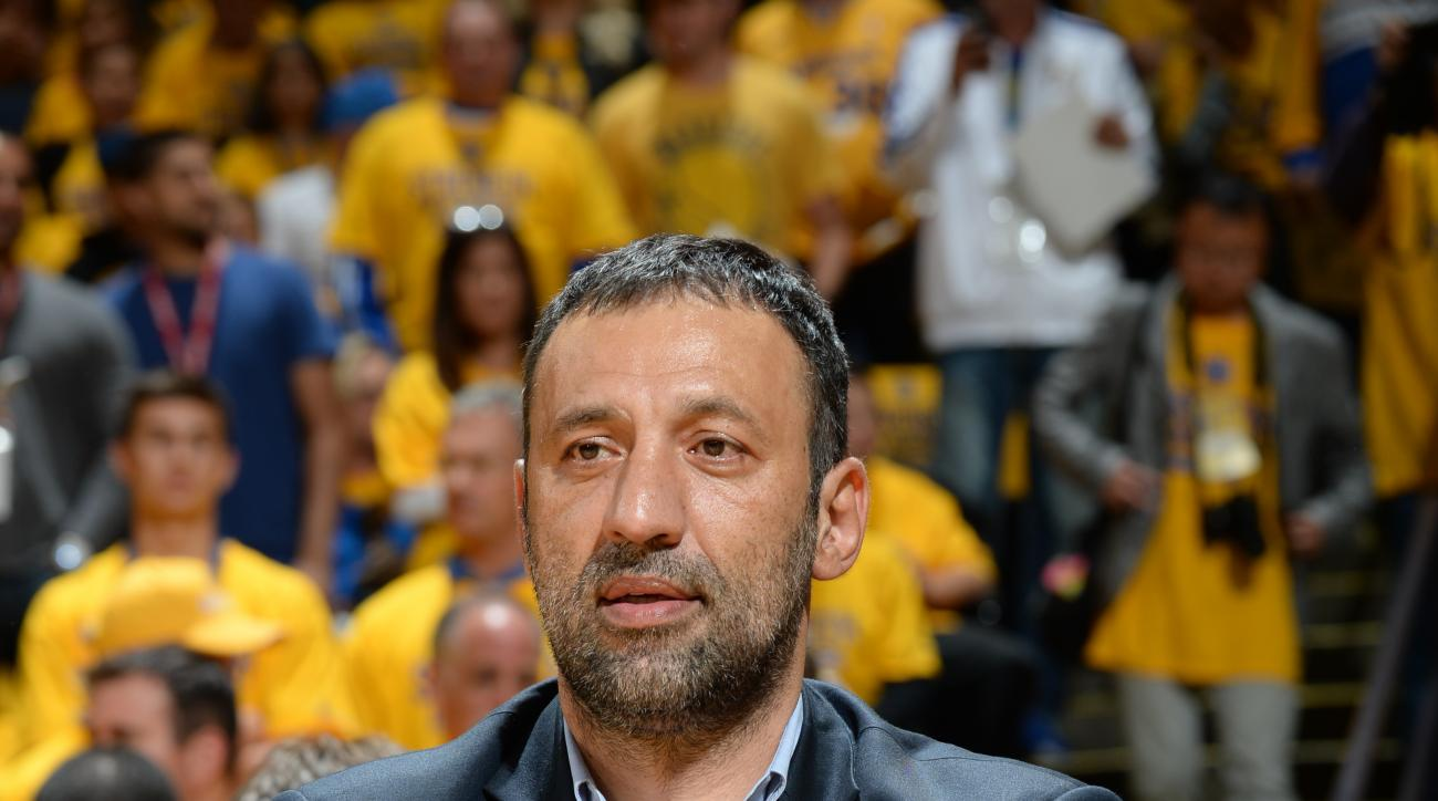OAKLAND, CA - MAY 5: Former NBA player Vlade Divac watches the Golden State Warriors warm up before facing the Memphis Grizzlies in Game Two of the Western Conference Semifinals during the NBA Playoffs on May 5, 2015 at Oracle Arena in Oakland, California