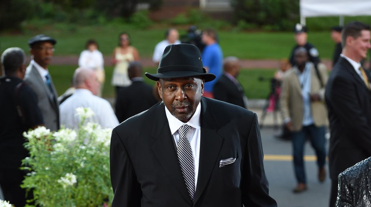SPRINGFIELD, MA - SEPTEMBER 11: Former NBA player Moses Malone arrives prior to the 2015 Basketball Hall of Fame Enshrinement Ceremony on September 11, 2015 at the Naismith Basketball Hall of Fame in Springfield, Massachusetts. (Photo by Brian Babineau/NB