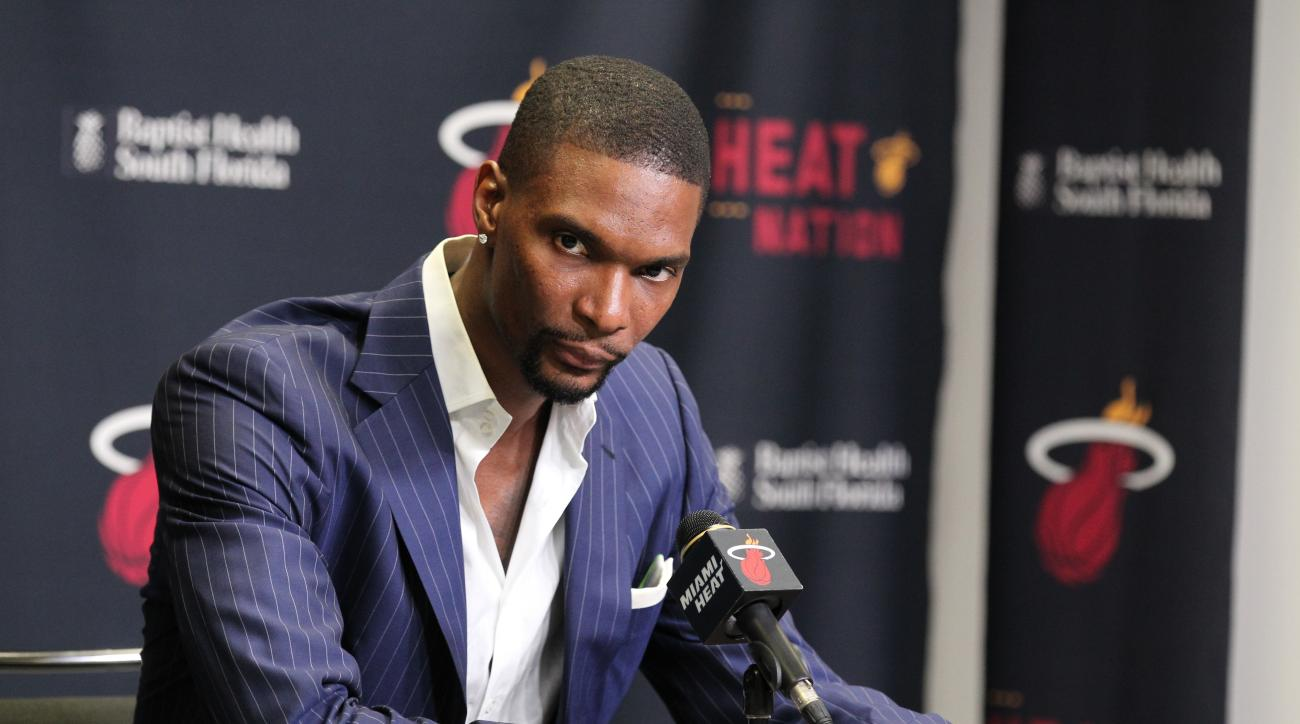 MIAMI, FL - MARCH 9: Chris Bosh #1 of the Miami Heat during a press conference before the game against Boston Celtics on March 9, 2015 at AmericanAirlines Arena in Miami, Florida. (Photo by Isaac Baldizon/NBAE via Getty Images)