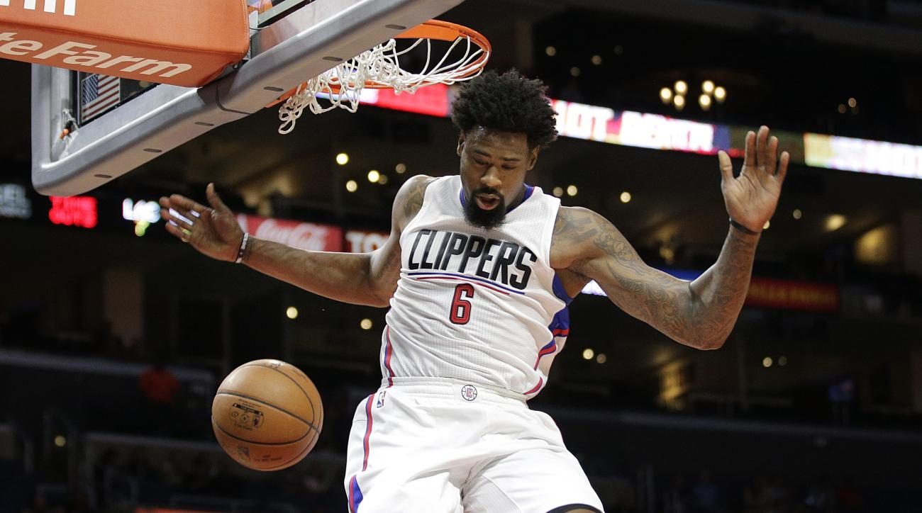 Los Angeles Clippers' DeAndre Jordan makes a dunk during the first half of an NBA preseason basketball game against the Denver Nuggets, Friday, Oct. 2, 2015, in Los Angeles. (AP Photo/Jae C. Hong)