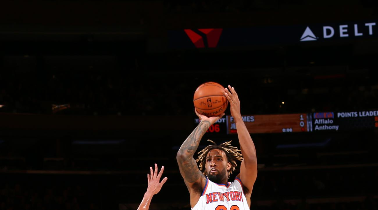 NEW YORK, NY - OCTOBER 16:  Derrick Williams #23 of the New York Knicks shoots the ball against the Boston Celtics during a preseason game on October 16, 2015 at Madison Square Garden in New York City, New York.  (Photo by Reid Kelley/NBAE via Getty Image