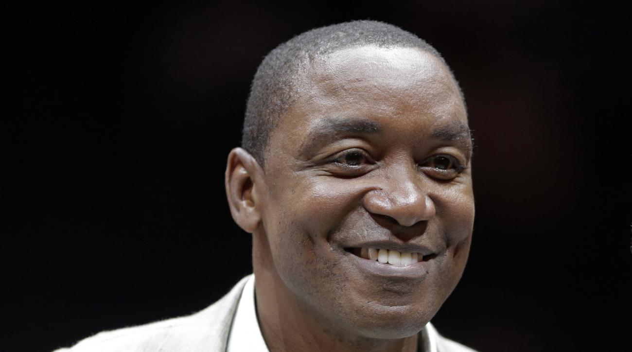 Isiah Thomas, President and part owner of the New York Liberty, appears at a pre-game ceremony of a WNBA basketball game with the Connecticut Sun, Wednesday, Sept. 9, 2015 at Madison Square Garden in New York. (AP Photo/Mark Lennihan)