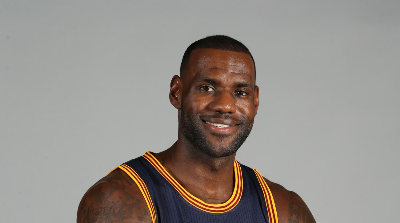FILE - This is a Sept. 28, 2015, file photo showing Cleveland Cavaliers' LeBron James posed during the NBA team's media day Independence, Ohio. (AP Photo/Ron Schwane, File)