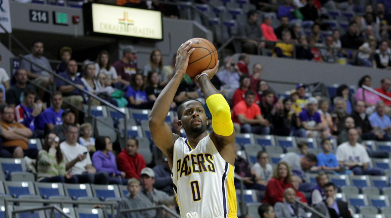 FORT WAYNE, IN - OCTOBER 22:  C.J. Miles #0 of the Indiana Pacers shoots against the Charlotte Hornets on October 22, 2015 at Allen County War Memorial Coliseum in Fort Wayne, Indiana. (Photo by Ron Hoskins/NBAE via Getty Images)