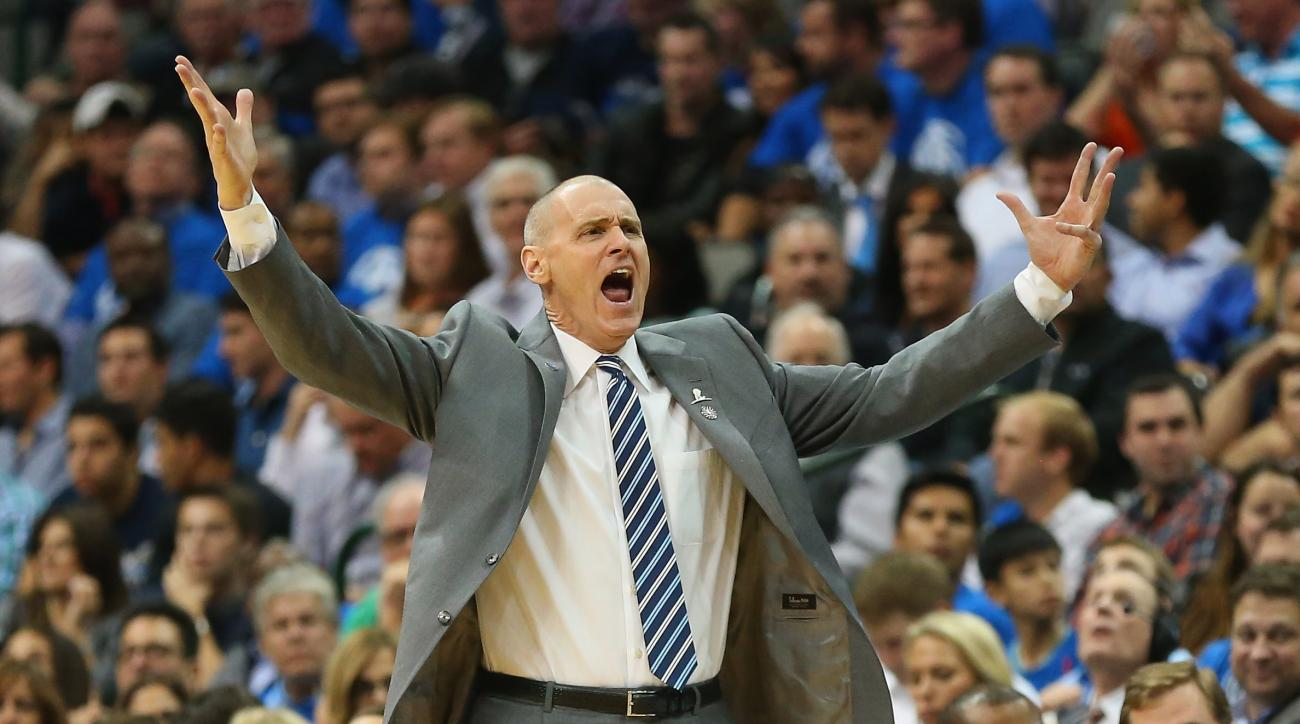 DALLAS, TX - NOVEMBER 03:  Rick Carlisle of the Dallas Mavericks yells during play against the Toronto Raptors at American Airlines Center on November 3, 2015 in Dallas, Texas.  (Photo by Ronald Martinez/Getty Images)
