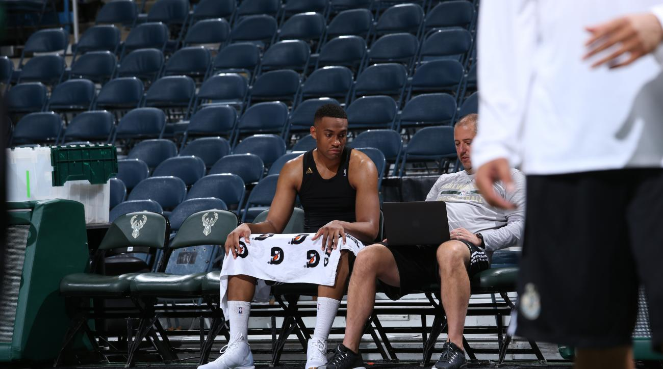MILWAUKEE, WI - NOVEMBER 4:  Jabari Parker #12 of the Milwaukee Bucks prepares for the game against the Philadelphia 76ers on November 4, 2015 at the BMO Harris Bradley Center in Milwaukee, Wisconsin. (Photo by Gary Dineen/NBAE via Getty Images)
