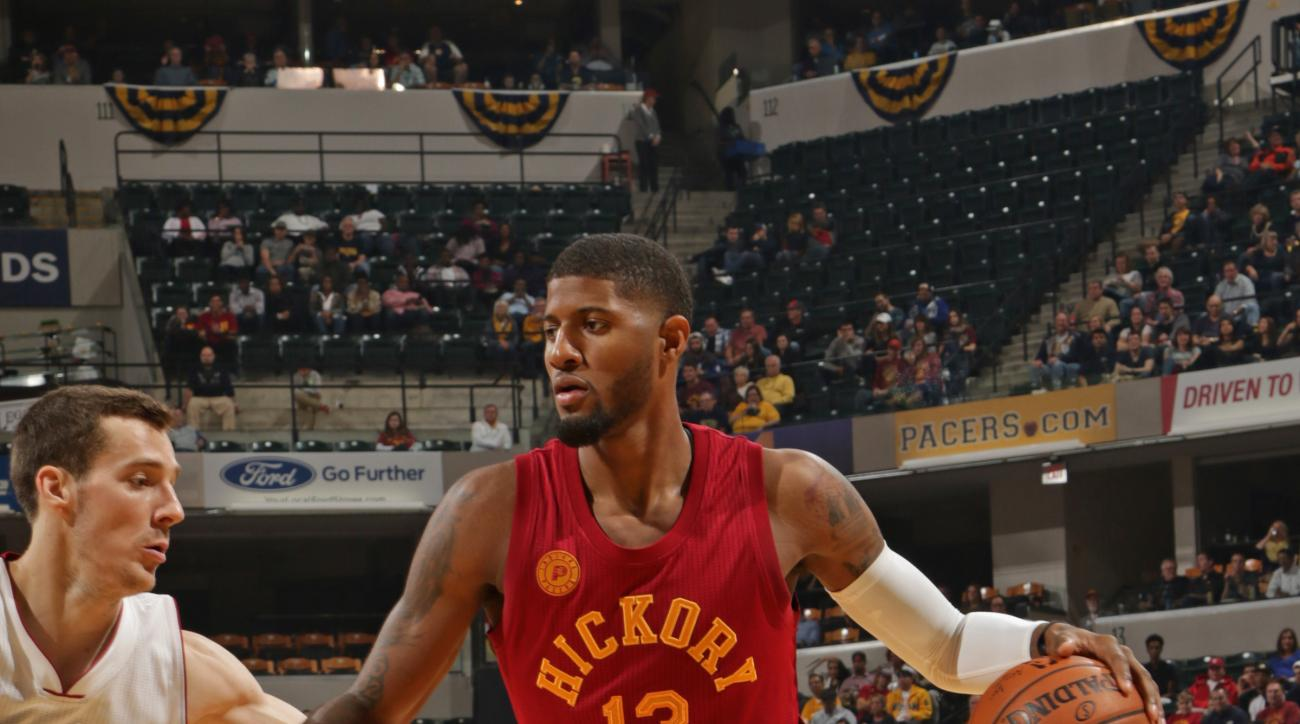 INDANAPOLIS, IN - NOVEMBER 6:  Paul George #13 of the Indiana Pacers drives to the basket against the Miami Heat on November 6, 2015 in Indianapolis, Indiana. (Photo by Ron Hoskins/NBAE via Getty Images)
