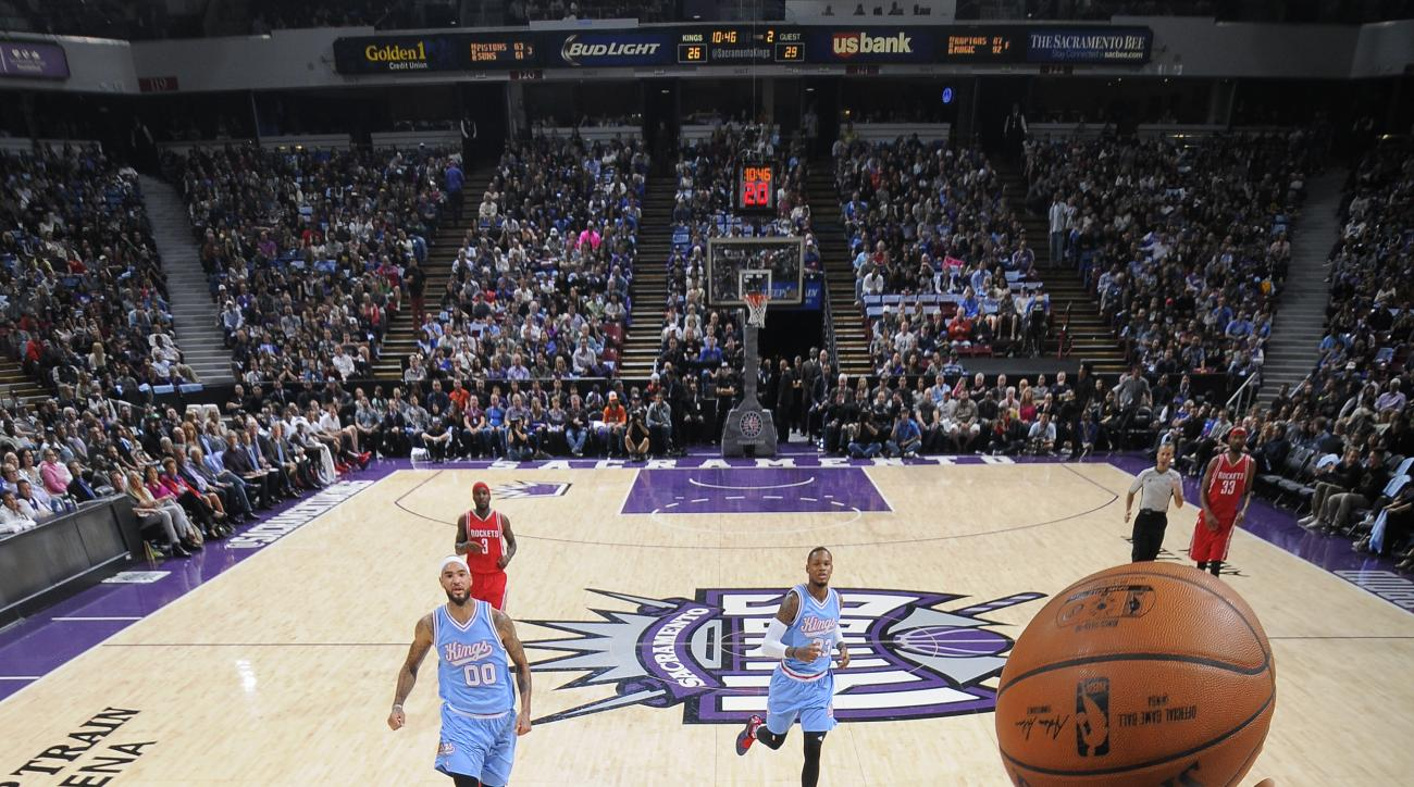 SACRAMENTO, CA - NOVEMBER 6: James Harden #13 of the Houston Rockets shoots the ball against the Sacramento Kings  at Sleep Train Arena on November 6, 2015 in Sacramento, California. (Photo by Rocky Widner/NBAE via Getty Images)