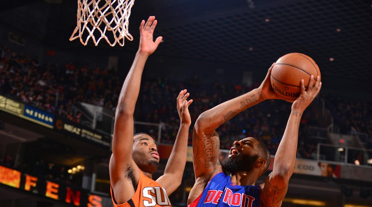 PHOENIX, AZ - NOVEMBER 06:  Marcus Morris #13 of the Detroit Pistons drives to the basket against the Phoenix Suns on November 6, 2015 at Talking Stick Resort Arena in Phoenix, Arizona. (Photo by Barry Gossage/NBAE via Getty Images)