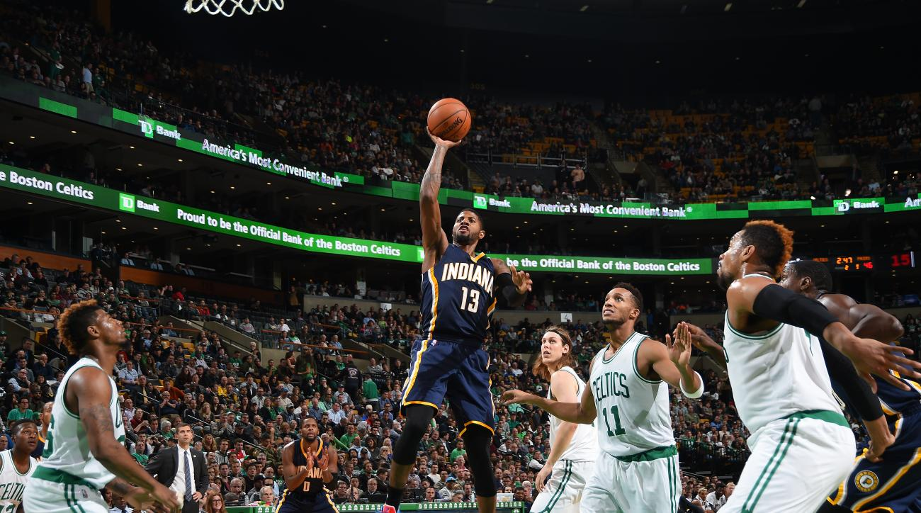 BOSTON, MA - NOVEMBER 11: Paul George #13 of the Indiana Pacers shoots the ball against the Boston Celtics during the game on November 11, 2015 at the TD Garden in Boston, Massachusetts.  (Photo by Brian Babineau/NBAE via Getty Images)