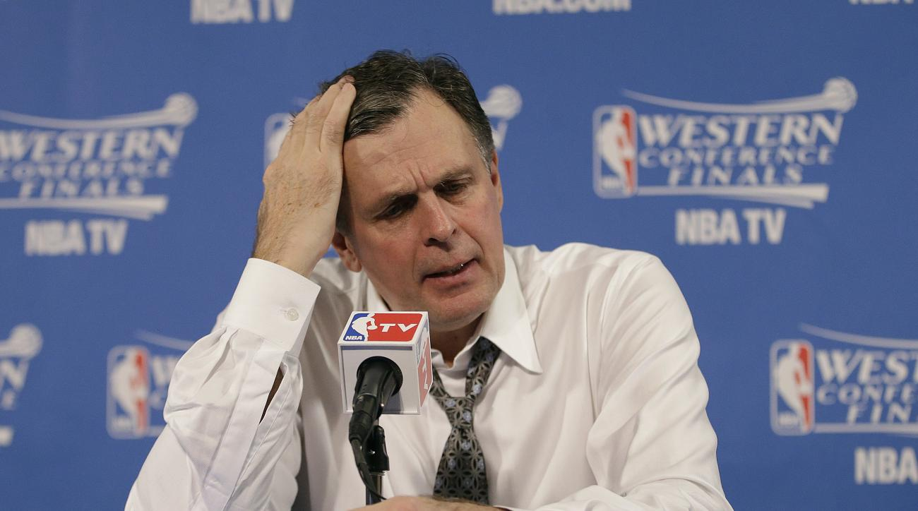 FILE - In this May 21, 2015, file photo, Houston Rockets head coach Kevin McHale speaks after Game 2 of the NBA basketball Western Conference finals against the Golden State Warriors in Oakland, Calif. A person familiar with the decision says the Rockets