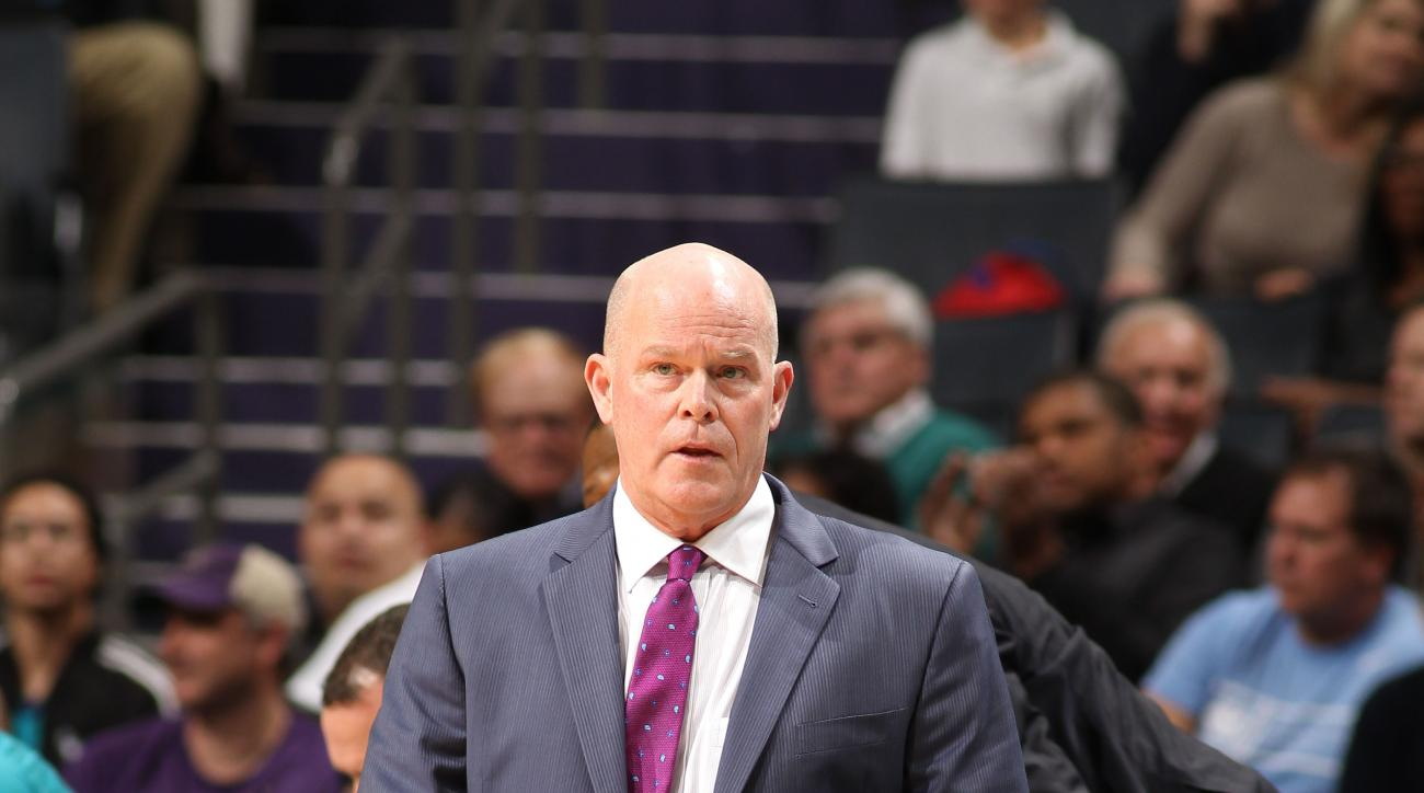 CHARLOTTE, NC - NOVEMBER 23:  Steve Clifford, head coach of the Charlotte Hornets during the game against the Sacramento Kings at the Time Warner Cable Arena on November 23, 2015 in Charlotte, North Carolina. (Photo by Brock Williams-Smith/NBAE via Getty
