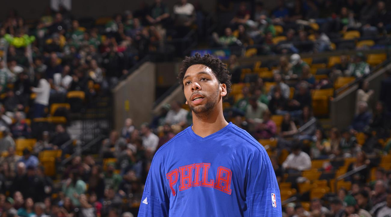 BOSTON, MA  - NOVEMBER 25: Jahlil Okafor #8 of the Philadelphia 76ers warms up before the game against the Boston Celtics on November 25, 2015 at the TD Garden in Boston, Massachusetts.. (Photo by David Dow/NBAE via Getty Images)