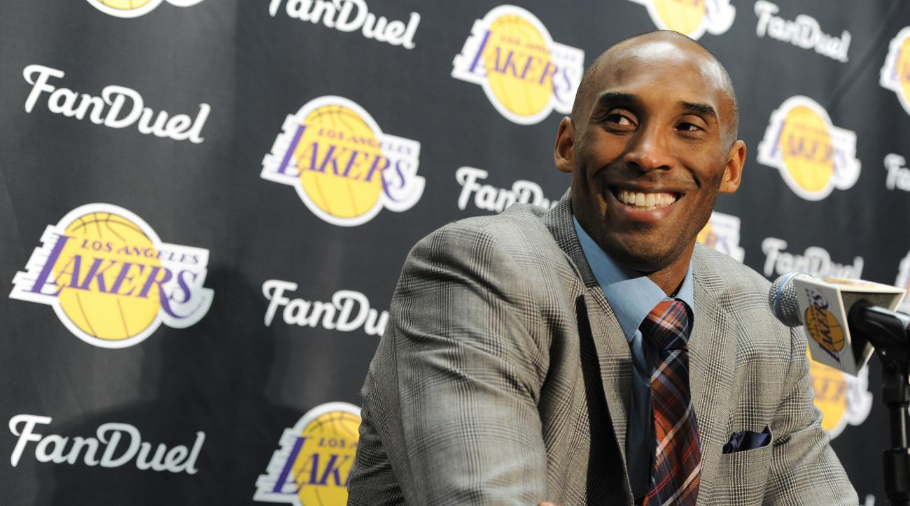 LOS ANGELES, CA - NOVEMBER 29:  Kobe Bryant #24 of the Los Angeles Lakers speaks at a post game press conference after the game against the Indiana Pacers on November 29, 2015 at STAPLES Center in Los Angeles, California. (Photo by Andrew D. Bernstein/NBA