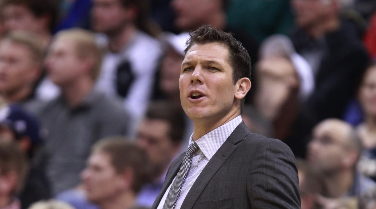SALT LAKE CITY, UT - NOVEMBER 30: Golden State Warriors Interim head coach Luke Walton reacts during a game against the Utah Jazz during the first half of an NBA game November 30, 2014 at Vivint Smart Home Arena in Salt Lake City, Utah. The Warriors beat